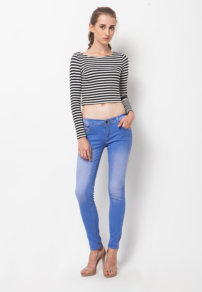 Nuber dahlia ladies mid jeans fit blue sea - stretch - biru muda 28