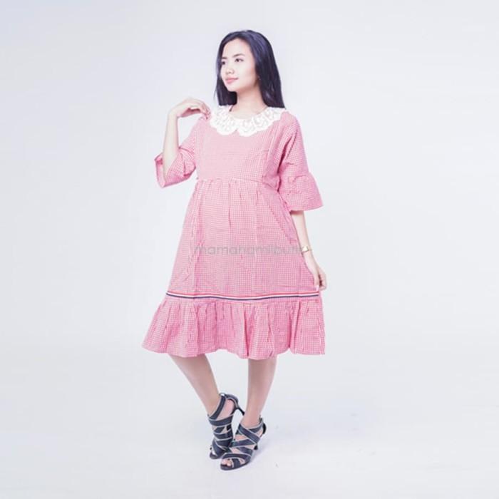 Dress Ibu Hamil Menyusui Katun Mutiara Pita Modis Terbaru - DRO 934 -  Cokelat 77028bbc30