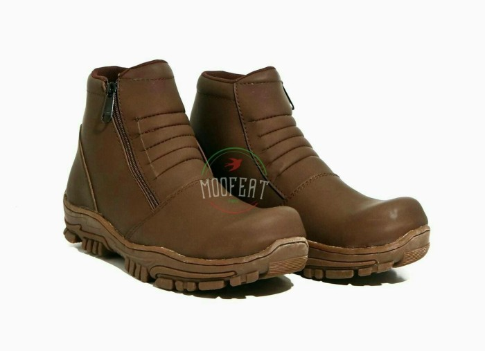 Sepatu Pria Moofeat Boots Safety Sleting ZIpper Original Handmade - Cokelat  Muda 1686d83ce7