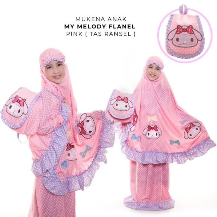 Mukena Anak Katun Flanel Dottie My Melody Pink Tas Ransel XS