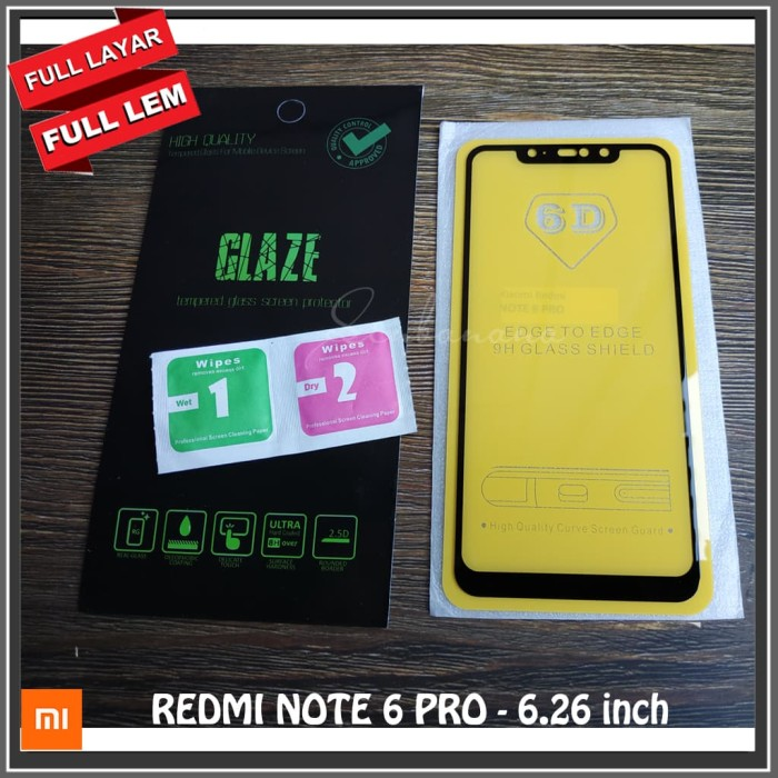 Foto Produk REDMI NOTE 6 PRO 6.26 inch Tempered Glass Full Glue Covered Layar - Hitam dari senbanana