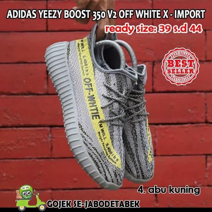 Jual Adidas Yeezy Boost 350 V2 Off White X Import. sepatu pria - Abu ... 3dc40db71e