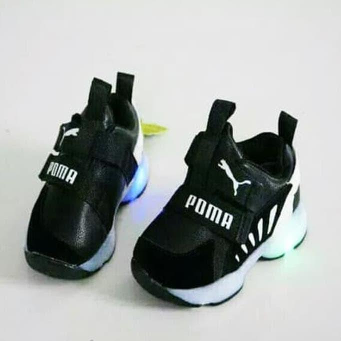 Jual Sepatu Led Puma Warna Hitam Model Rekat Sepatu Kets Anak Laki