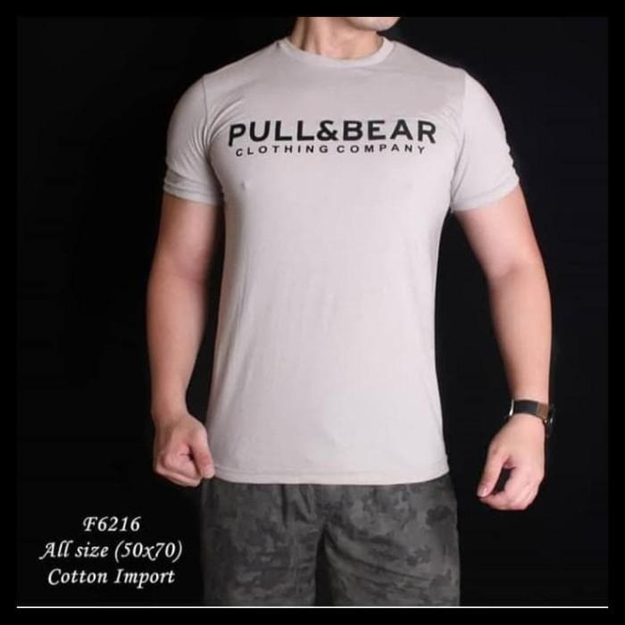 HOT SALE F 6216 Kaos Pria Bear And Pull Cream Lengan Pendek terjamin