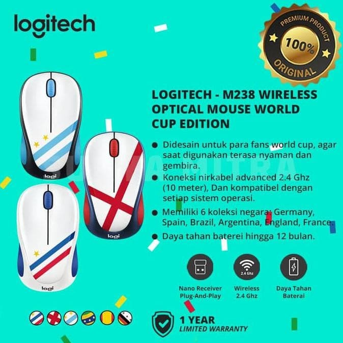 d913146bd42 Jual Murahh Pisann Logitech M238 / M 238 Flag Edition Wireless Mouse ...
