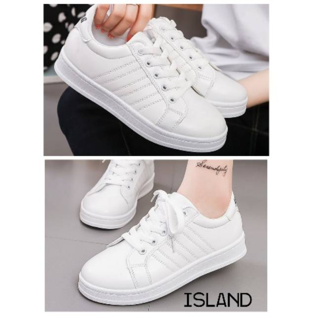 Jual Sneackers Wanita Murah Sepatu Tali Sepatu Kets Putih Polos