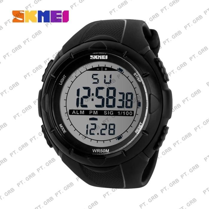 Jam tangan pria digital skmei 1025 black water resist 50m