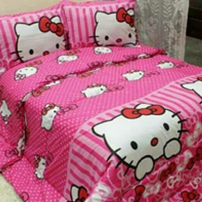 Bedcover Set Katun 200X200X25Cm Jaxine Motif Hello Kitty Pita