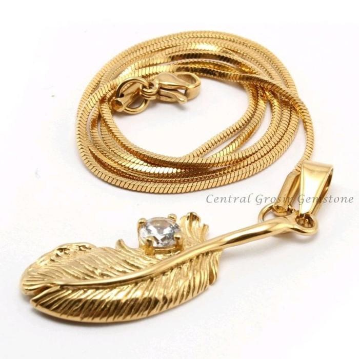 ready kak Liontin Titanium Gold Permata Set Kalung Emas Titanium