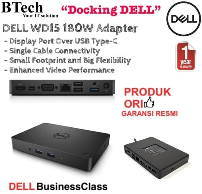 Jual Premium DELL BUSINESS DOCK WD15 WITH 180W ADAPTER - Kab  Bandung -  mufar store | Tokopedia