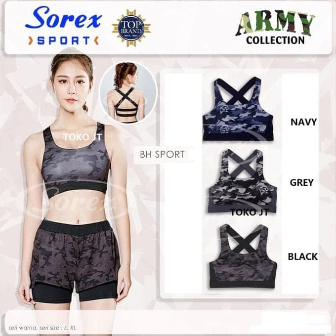 Jual Sport Bra Fashion Army Bh Olahraga Gym Fitness Zumba Sorex 8401 ... 496afa8b33