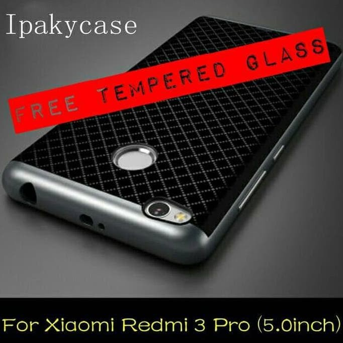 ... Ipaky Case Bumper Xiaomi Redmi 3 Pro Free Tempered Glass Emas
