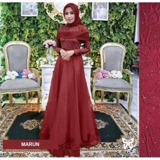 Jual Gaun Pesta Muslimah Baju Muslim Wanita Syar I Hijab Srazalea Merah Ilir Barat I Panabaker Tokopedia