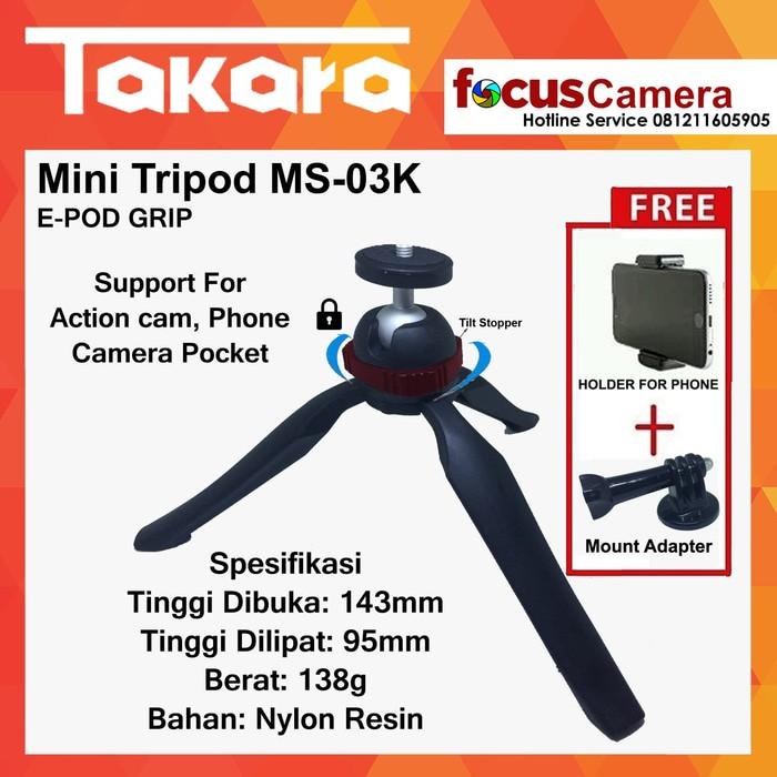 harga Mini tripod takara ms-03k for action cam - pocket kamera - phone Tokopedia.com