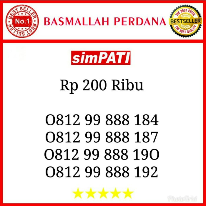 Jual Nomor Cantik Simpati Seri Triple 888 Hoki 0812 99 888 184 B10 - Kota Administrasi Jakarta Pusat - Basmallah Cell 2 | Tokopedia