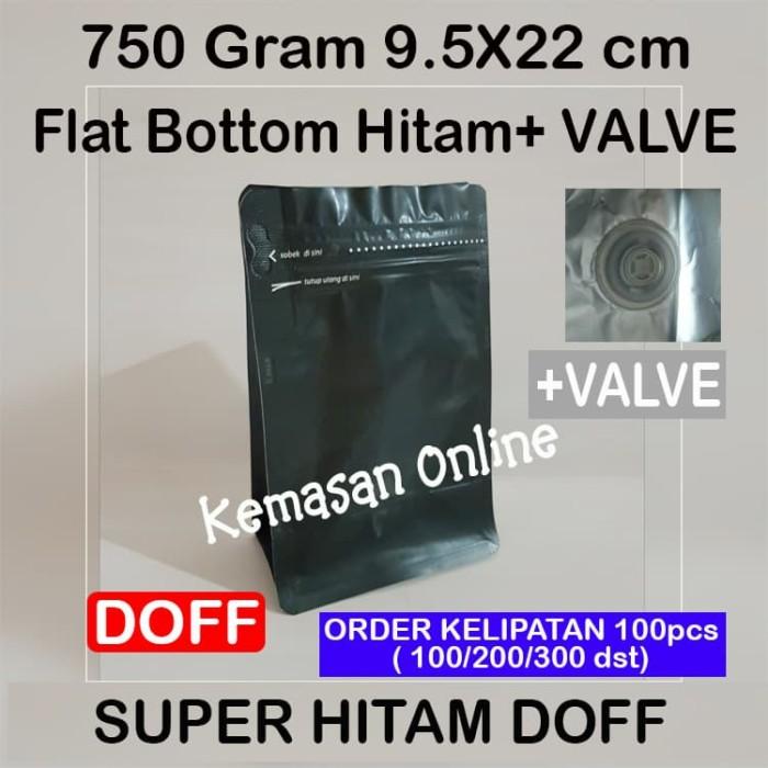 Kemasan Kopi 200 gr Gusset Flat Bottom Hitam 750+Zipper+Valve (9x22cm)