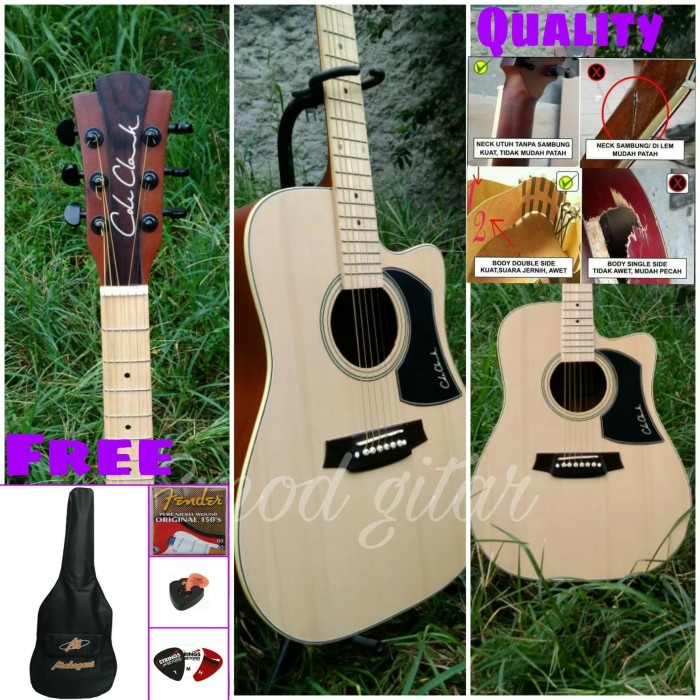 harga Gitar akustik coleclark dobel run neck utuh finger board mapel Tokopedia.com