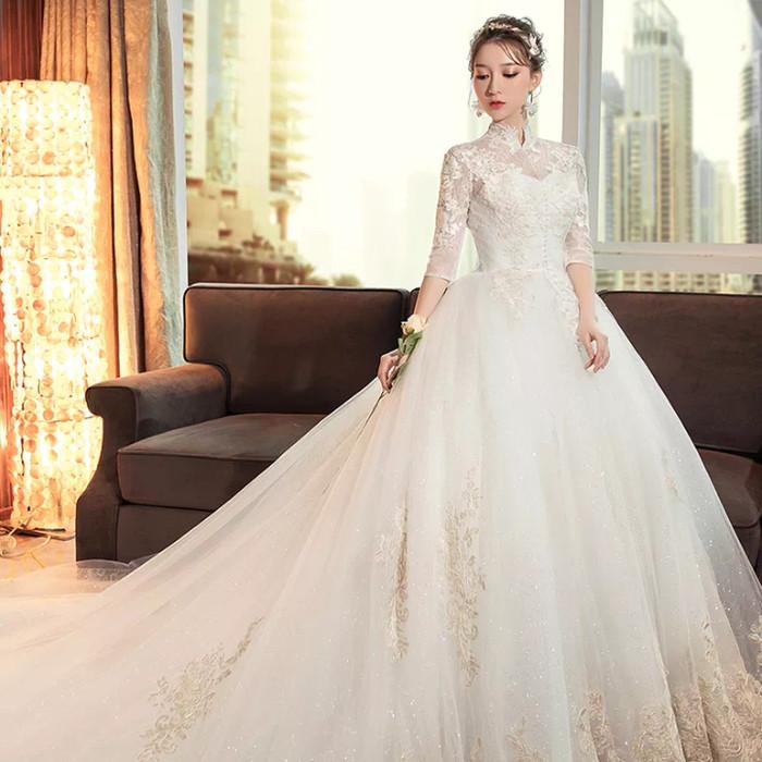 Jual Wedding Dress Tail Premium Gaun Pernikahan Ekor Payet Mewah Baju Putih Xs Kota Semarang Tiara Clay Tokopedia