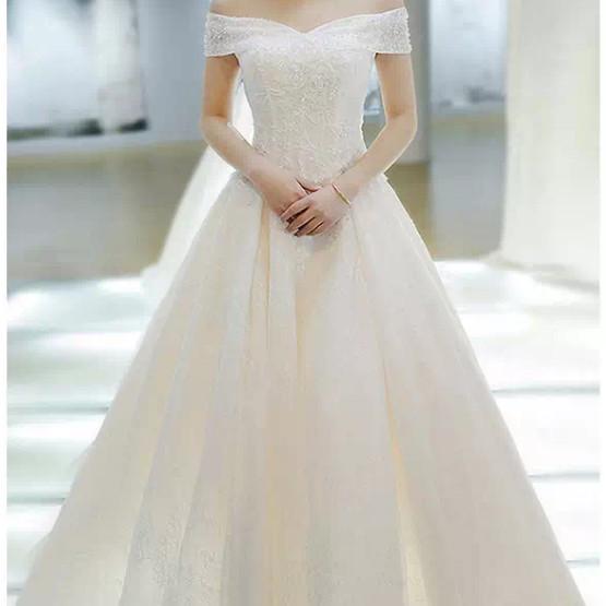 Jual Wedding Dress Sabrina Payet Ekor Gaun Pernikahan Bridal Mewah Premium Kota Semarang Tiara Clay Tokopedia