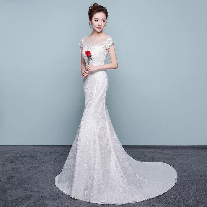 Jual Wedding Dress Mermaid Gaun Baju Pengantin Payet Brokat Model
