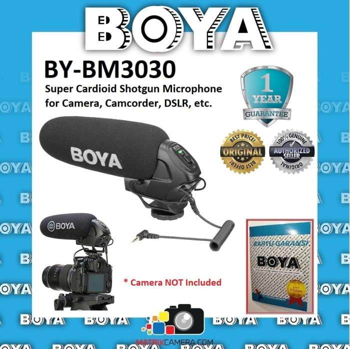 Foto Produk BOYA BY-BM3030 Super Cardioid Shotgun Microphone for Camera, DSLR etc. dari MatrixCamera