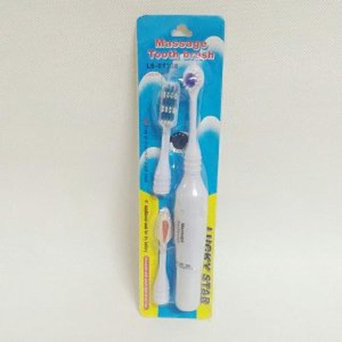 Sikat Gigi Elektrik Dengan 3 Kepala Sikat Tooth Brush Multicolor ... a6f8f5685f