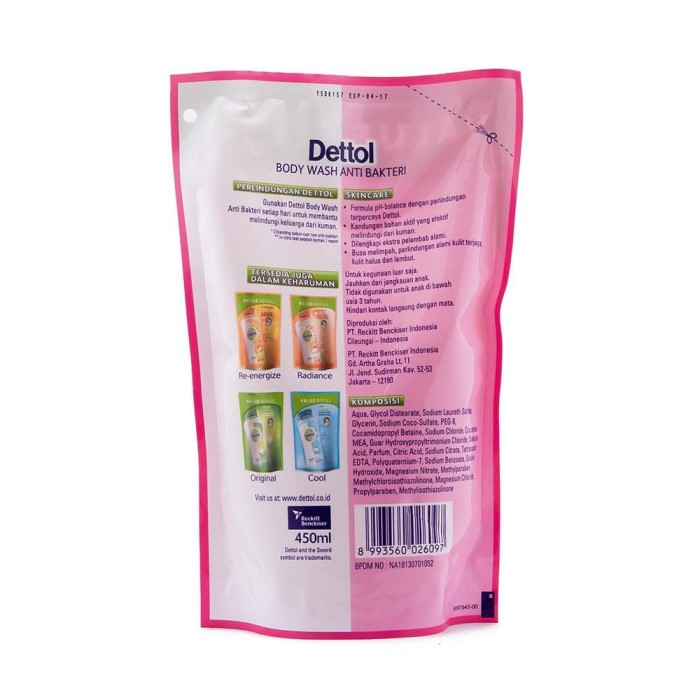 Dettol Sabun Mandi Cair Skincare - Botol 300mL + Pouch 250mL