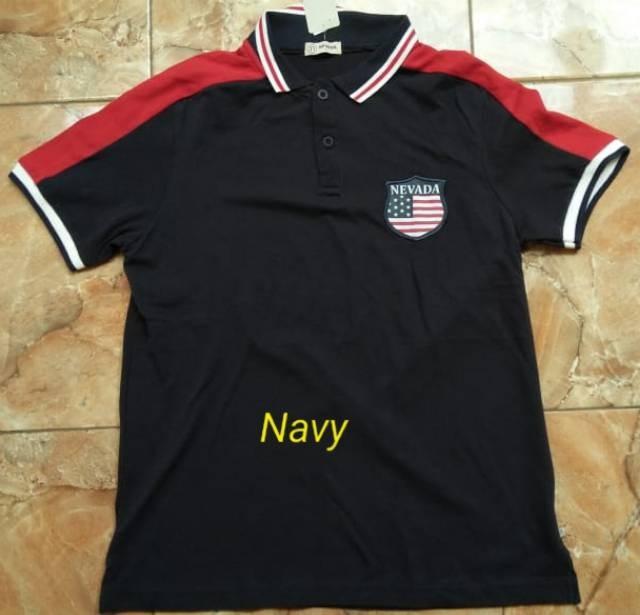 L/XL-ABU/NAVY-KAOS KERAH PRIA-NEVAda