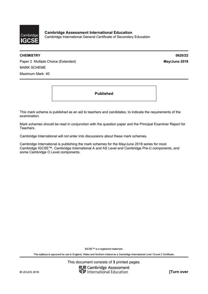Jual IGCSE Chemistry 0620 extended May/Jun past paper mark scheme 2014-2018  - DKI Jakarta - Cambridge | Tokopedia
