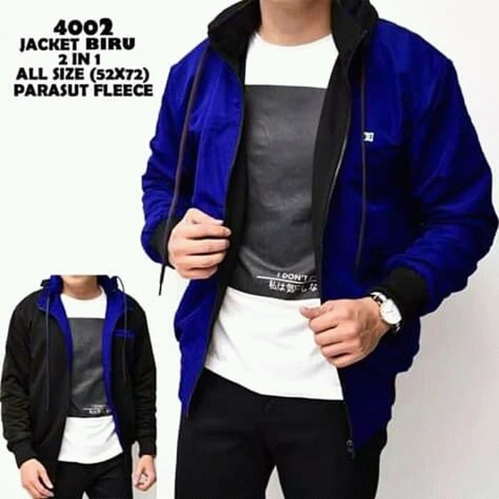 jaket bb dc 2in1 biru hitam / jaket bolak balik bolbal premium