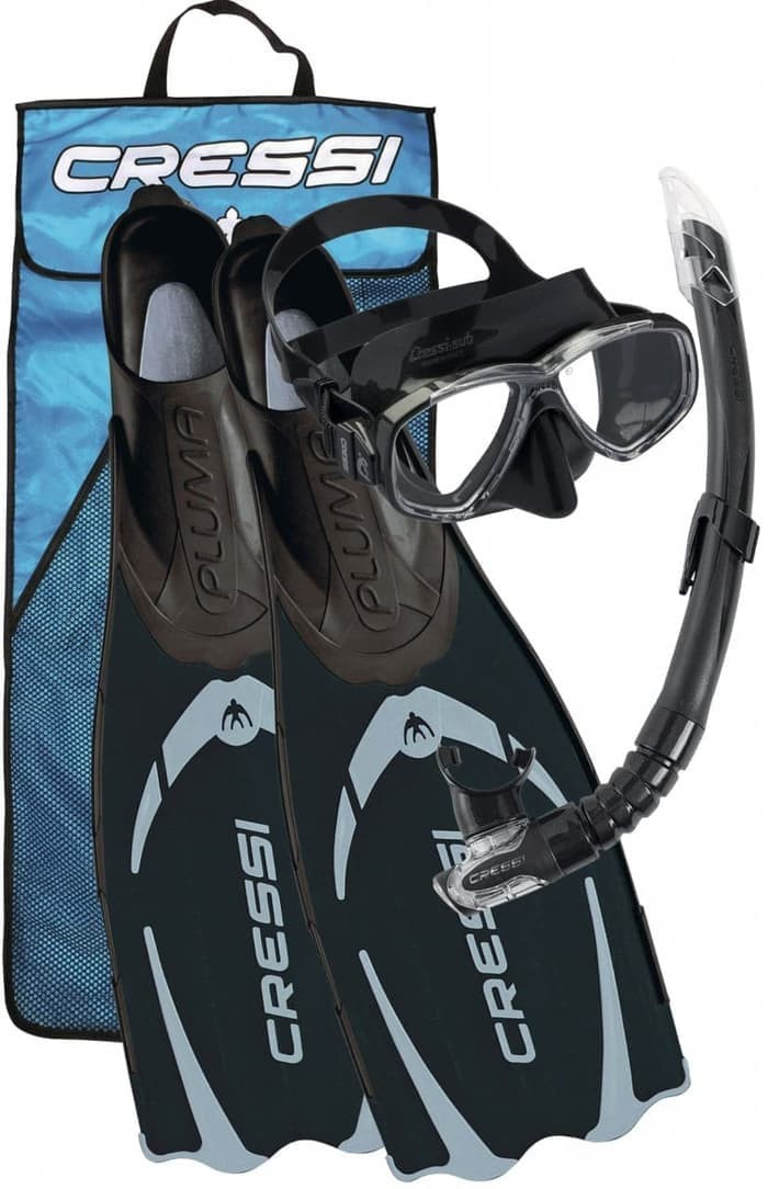 Alat Snorkling Set Fin Diving/Snorkeling Fin Cressi Pluma Bag - BLACK