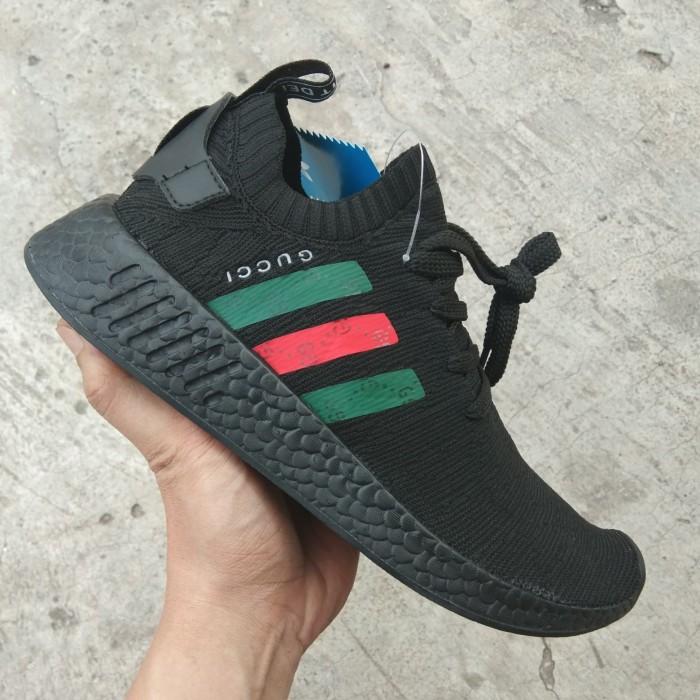 aa2a40a42cf33 Jual Sepatu adidas NMD R2 X Gucci all Black Red Green Premium ...