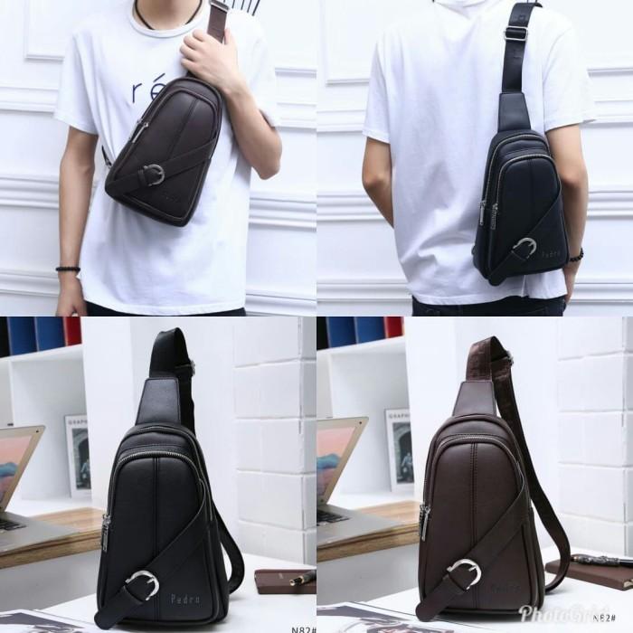 Leather Man Bag Mens Messenger Shoulder Bag Mobile Phone Belt Pouch with Top Handle 18x6x28cm