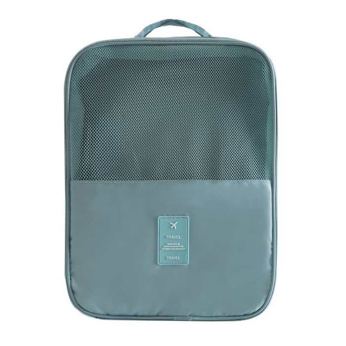 Travel Shoes Storage Bag / Travel Bag Organizer / Tas Sepatu Portable - Cadet Blue