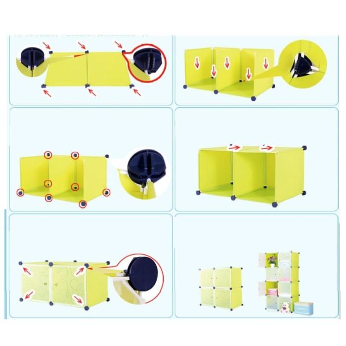 Lemari Pakaian Rak Serbaguna Susun Plastik Lemari Baju 6 Pintu Hello