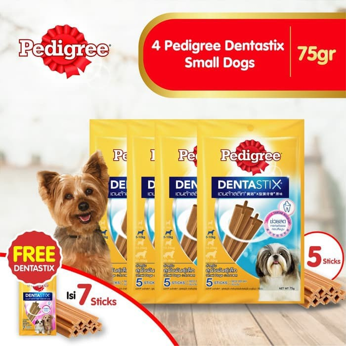 [isi 4 Pack] Pedigree Dentastix Small Dogs 75gr Free 1 Dentastix