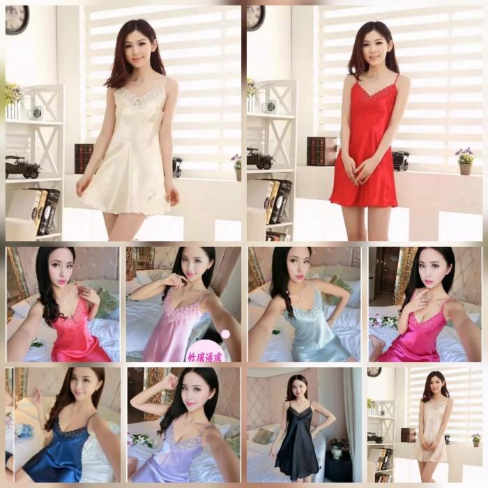 Foto Produk Baju Tidur Wanita Satin Silky Velvet Daster Renda BELL dari Twinz Collections