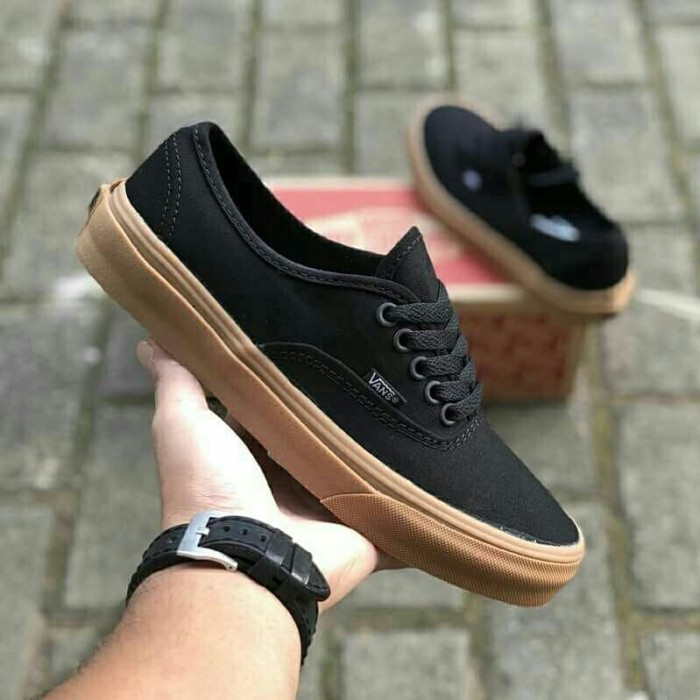 e5537482c8 Jual Sepatu Vans Authentic Mono Black Gum Premium High Quality ...