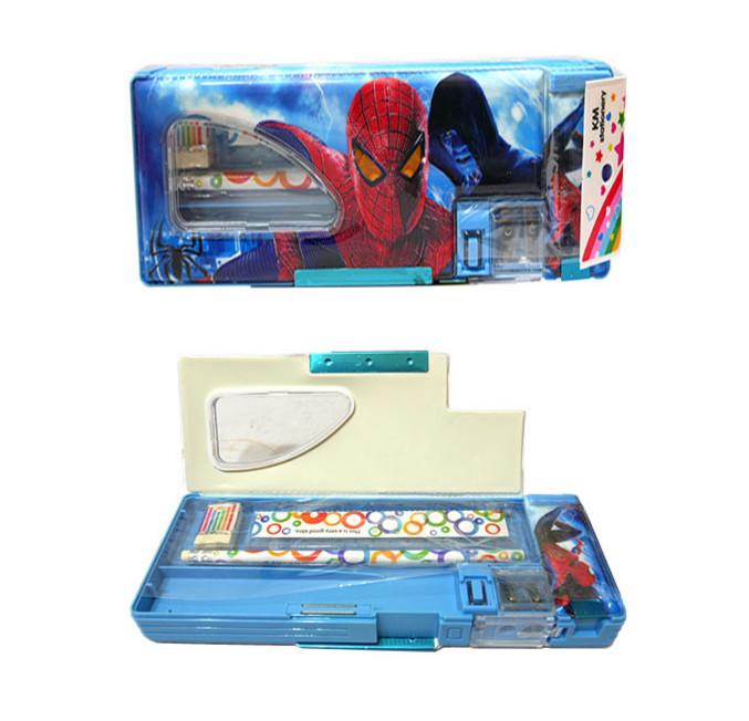 Kotak Pensil Magnet + Set Alat Tulis Karakter Frozen dan Spiderman