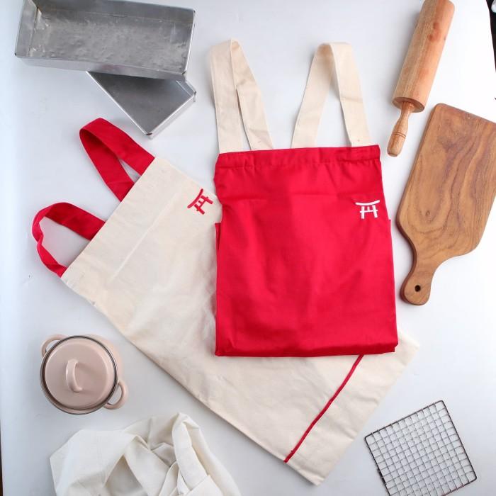 Foto Produk UCHII Cotton Cooking Apron | Celemek Masak Kain Dewasa All Size Pocket - Merah dari uchii store