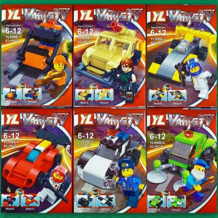 Jual Brick Yl 8906 Lego City Variety Vehicles With Minifigures 3in1