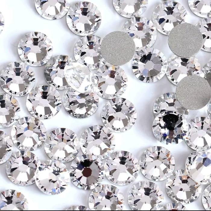 harga Ss12 flatback nail art rhinestone crystal 3mm clear non glue tanpa lem Tokopedia.com