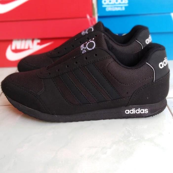 Jual Sepatu Sekolah Adidas Hitam Polos Sneaker Pria Wanita Neo