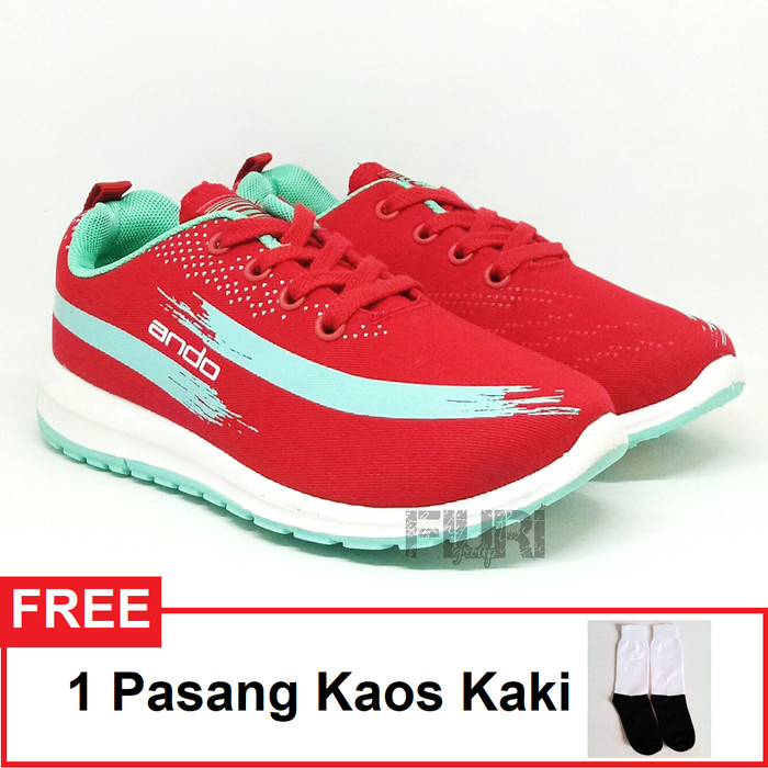 Ando Original Lindsey Merah Tosca Sepatu Olahraga Senam Kuliah Wanita - Merah, 36