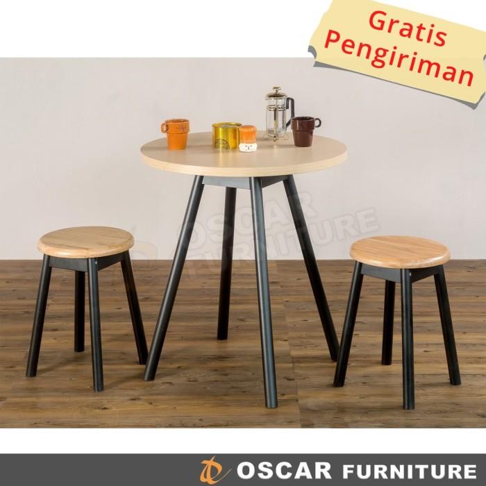 harga Oscar furniture - dining set torino - 1 meja makan bulat & 4 bangku Tokopedia.com