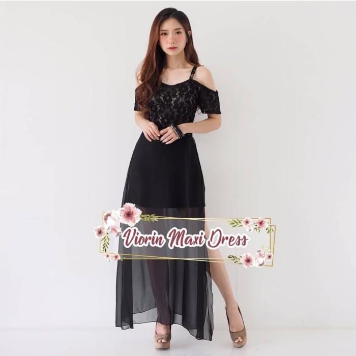 Jual Viorin Maxi Dress Pakaian Wanita Pesta Party Dress Code Black