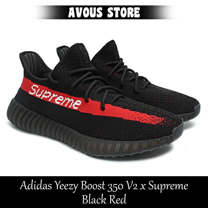 2b4d9bcc2 Jual Sepatu Pria Adidas Yeezy Boost 350 V2 x Supreme Black Red ...
