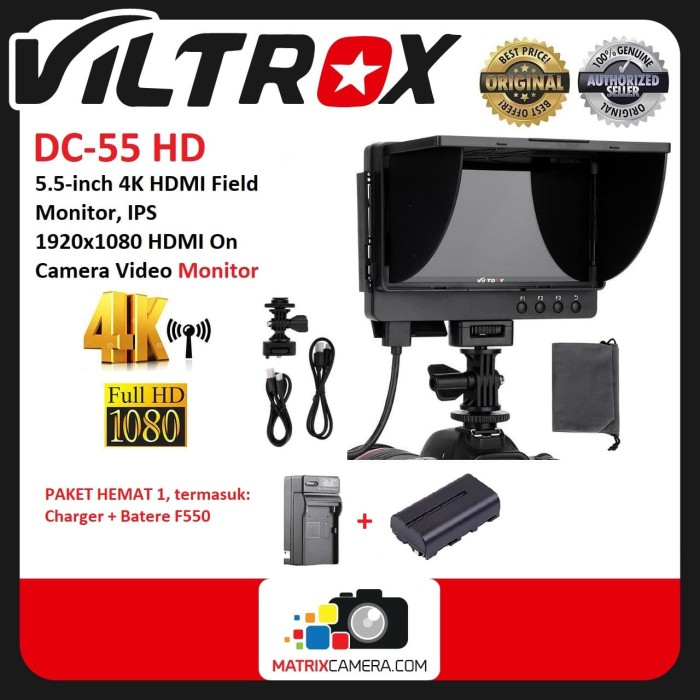 Foto Produk Viltrox DC-55HD 5.5 Inch 4K HDMI Full HD Display LCD Monitor Paket 1 dari MatrixCamera