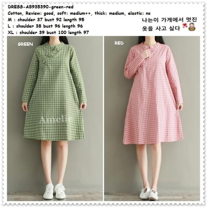 Foto Produk Mini Dress Cheongsam Kotak Lengan Panjang Korea Import AB935390 Tunik dari Amelie Butik Wholesale