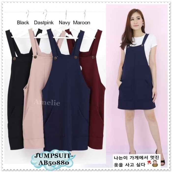 Jual Baju Kodok Overall Jumpsuit Mini Dress Wanita Korea Import